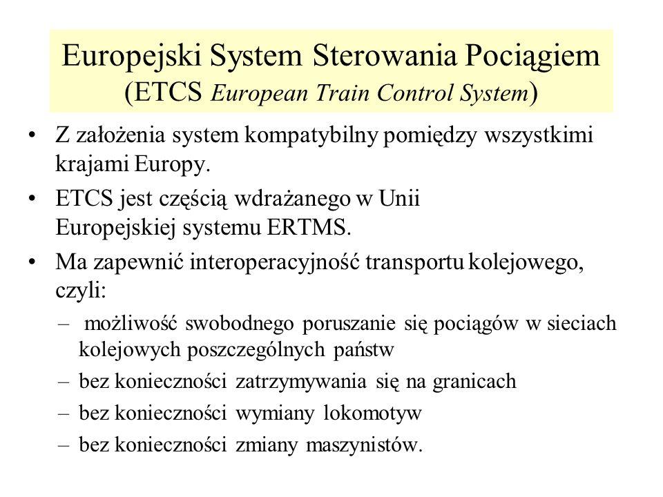 Europejski System Sterowania Pociągiem (ETCS European Train Control System ) Z założenia system kompatybilny pomiędzy wszystkimi krajami Europy. ETCS