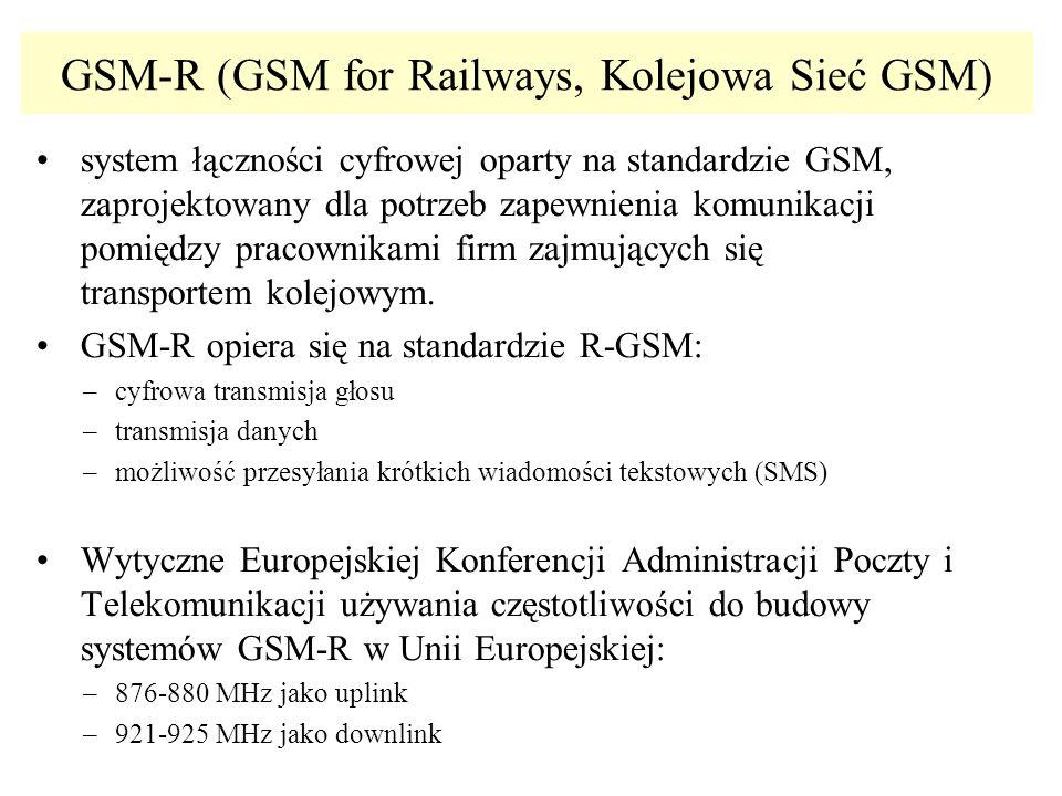 GSM-R (GSM for Railways, Kolejowa Sieć GSM) system łączności cyfrowej oparty na standardzie GSM, zaprojektowany dla potrzeb zapewnienia komunikacji po