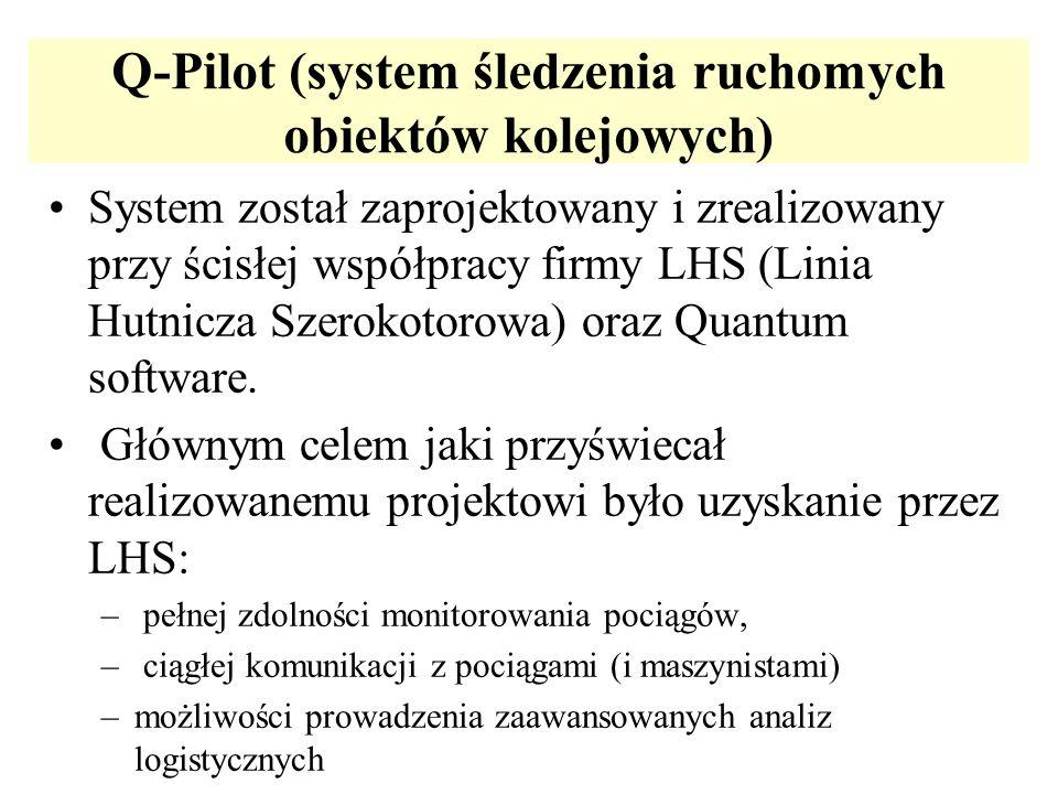 Q-Pilot (system śledzenia ruchomych obiektów kolejowych) System został zaprojektowany i zrealizowany przy ścisłej współpracy firmy LHS (Linia Hutnicza
