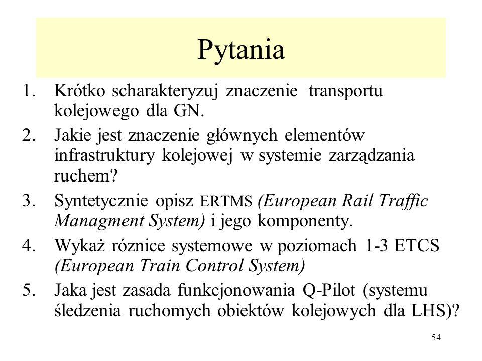 54 Pytania 1.Krótko scharakteryzuj znaczenie transportu kolejowego dla GN. 2.Jakie jest znaczenie głównych elementów infrastruktury kolejowej w system