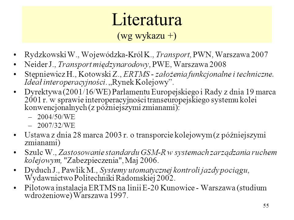 55 Literatura (wg wykazu +) Rydzkowski W., Wojewódzka-Król K., Transport, PWN, Warszawa 2007 Neider J., Transport międzynarodowy, PWE, Warszawa 2008 S
