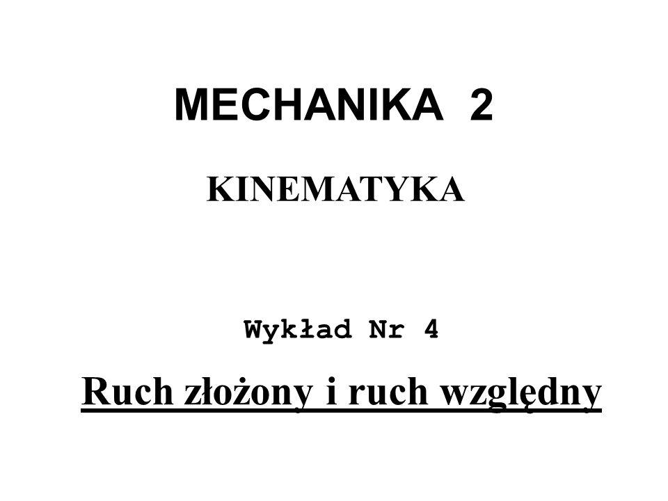 MECHANIKA 2 Wykład Nr 4 KINEMATYKA Ruch złożony i ruch względny