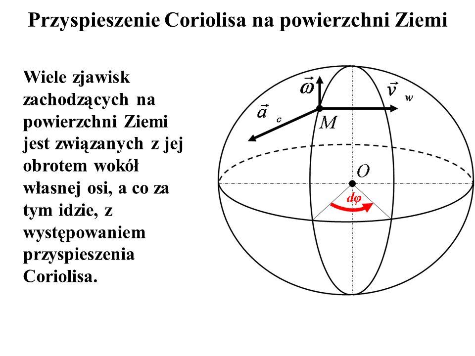 Przyspieszenie Coriolisa na powierzchni Ziemi Wiele zjawisk zachodzących na powierzchni Ziemi jest związanych z jej obrotem wokół własnej osi, a co za