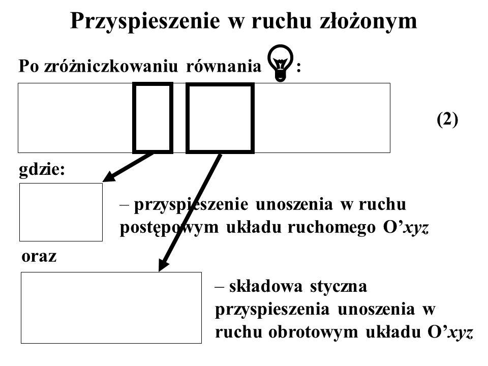 Przyspieszenie w ruchu złożonym Po zróżniczkowaniu równania : gdzie: oraz – przyspieszenie unoszenia w ruchu postępowym układu ruchomego Oxyz – składo