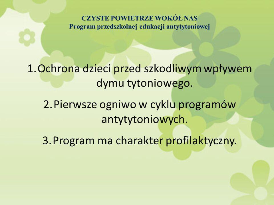 CZYSTE POWIETRZE WOKÓŁ NAS Program przedszkolnej edukacji antytytoniowej Cele główne programu: 1.