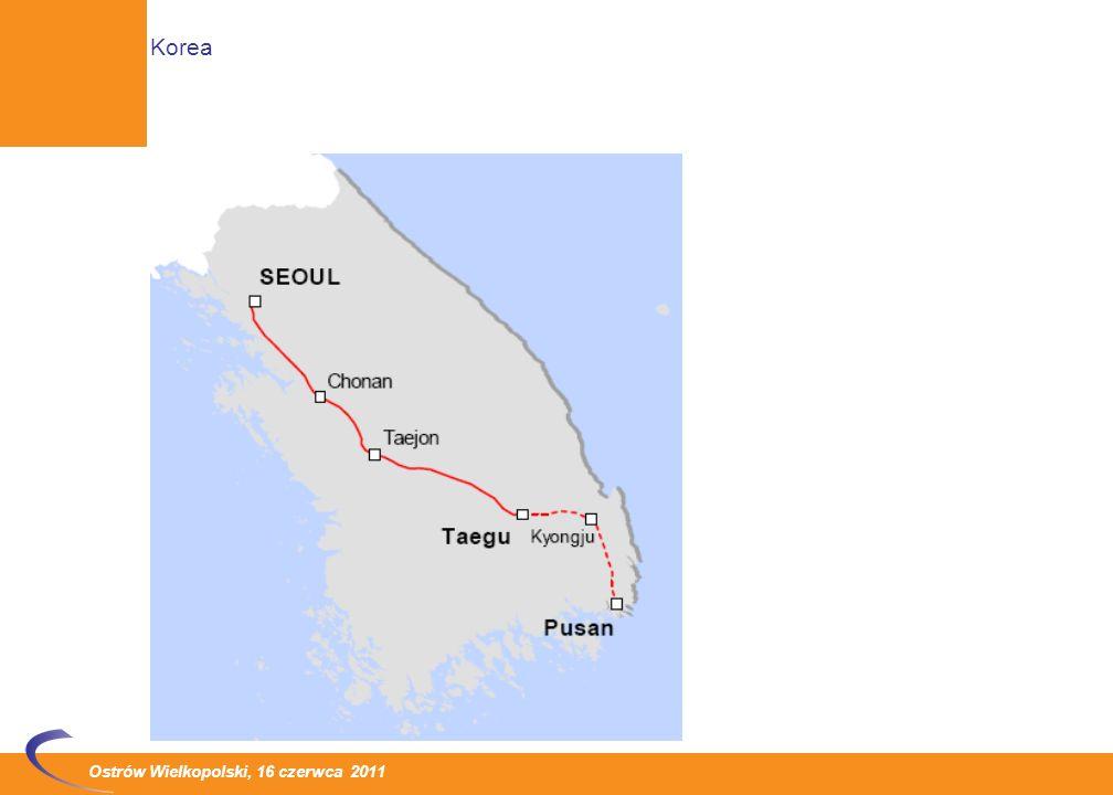 Ostrów Wielkopolski, 16 czerwca 2011 1 listopada 2010 roku uruchomiono przewozy pasażerskie na odcinku Daegu – Busan, który jest drugą częścią linii dużych prędkości łączącej Seul i Busan o długości około 420 km Pierwszy odcinek Seul - Daegu o długości 224 km został otwarty w kwietniu 2004 roku Ukończenie drugiego etapu inwestycji pozwala na skrócenie czasu podróży z Seulu do Busan o 22 minuty (do 2 godzin 18 minut) Nowa linia zapewnia obsługę miast Ulsan oraz Gyeongju W budowie są dwa odcinki linii dużych prędkości o łącznej długości 41 km, które zapewnią szybszy niż obecnie przejazd przez duże miasta: Daejon oraz Daegu.