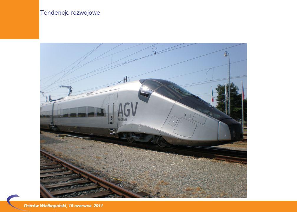 Ostrów Wielkopolski, 16 czerwca 2011 Wzrost prędkości: Po okresie stagnacji, trwającym od przełomu lat osiemdziesiątych i dziewięćdziesiątych, od kilku lat widoczna jest tendencja do wzrostu prędkości pociągów Tendencja wzrostu prędkości dotyczy infrastruktury kolejowej, przede wszystkim parametrów przyjmowanych przy projektowaniu układu geometrycznego linii, systemów zasilania oraz systemów sterowania.