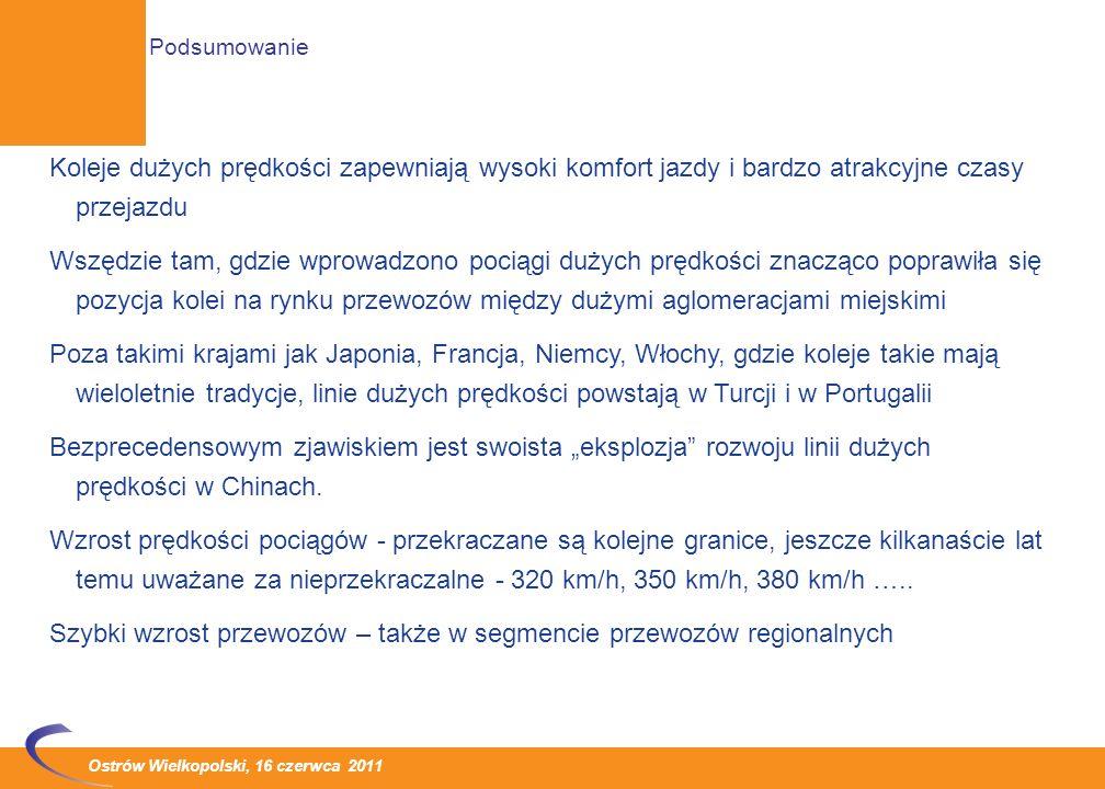 Ostrów Wielkopolski, 16 czerwca 2011 Wzrost dostępności: Wbrew dotychczasowym tendencjom, kiedy to celem budowy KDP było połączenie ze sobą tylko największych aglomeracji, obecnie coraz częściej na takich liniach powstają stacje pośrednie służące obsłudze również średnich miejscowości Podstawowa korzyść - likwidacja efektu korytarzowego a także większa akceptacja społeczna dla projektów budowy nowych linii, mimo, że pod względem eksploatacyjnym dodatkowe postoje nie są korzystne Tendencje rozwojowe