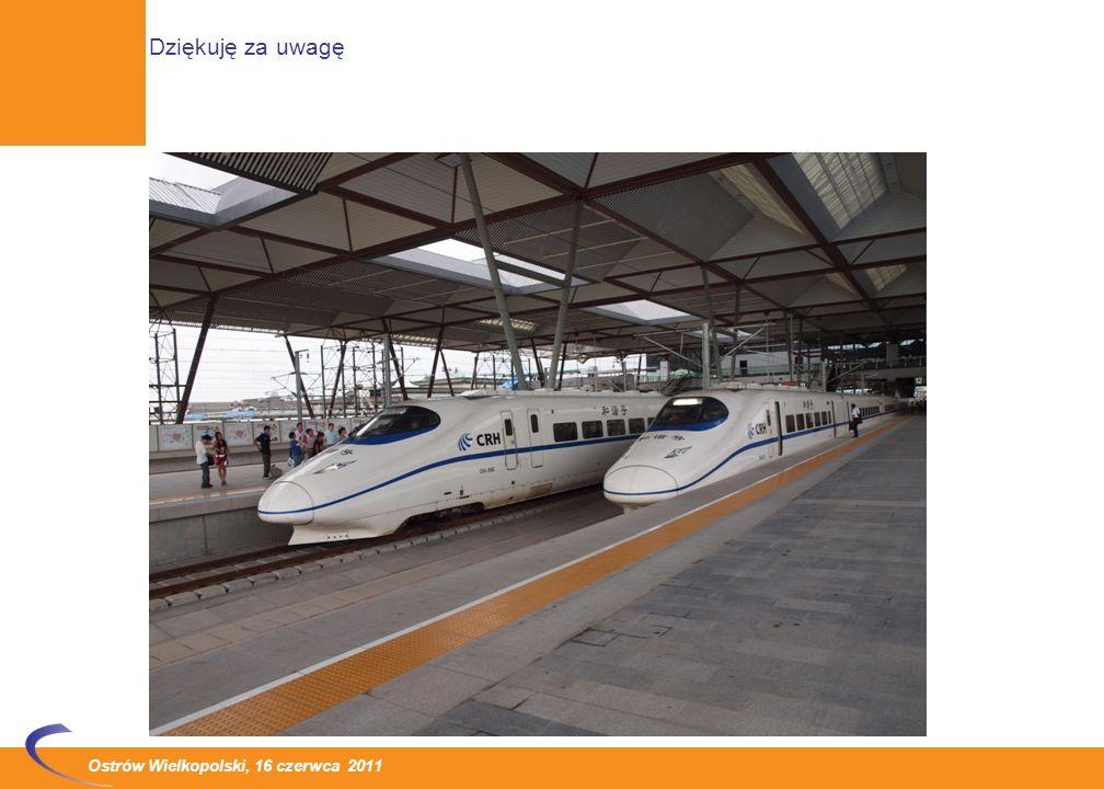 Ostrów Wielkopolski, 16 czerwca 2011 Koleje dużych prędkości zapewniają wysoki komfort jazdy i bardzo atrakcyjne czasy przejazdu Wszędzie tam, gdzie wprowadzono pociągi dużych prędkości znacząco poprawiła się pozycja kolei na rynku przewozów między dużymi aglomeracjami miejskimi Poza takimi krajami jak Japonia, Francja, Niemcy, Włochy, gdzie koleje takie mają wieloletnie tradycje, linie dużych prędkości powstają w Turcji i w Portugalii Bezprecedensowym zjawiskiem jest swoista eksplozja rozwoju linii dużych prędkości w Chinach.