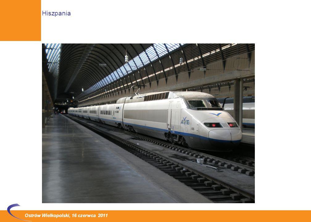 Ostrów Wielkopolski, 16 czerwca 2011 W miesiącu grudniu 2010 roku nastąpi przekazanie do normalnej eksploatacji linii Madryt – Walencja z odgałęzieniem do Albacete Odcinki Madryt – Walencja i Madryt – Albacete o łącznej długości 432 km, stanowią zasadniczą część większego projektu o nazwie Levante W grudniu 2010 roku sieć linii dużych prędkości w Hiszpanii osiągnie sumaryczną długość 2056 km i stanie się najdłuższą siecią takich linii w Europie Na terenie Hiszpanii trwa budowa 1767 km linii a kolejne odcinki znajdują się w różnych fazach przygotowania inwestycji Hiszpania