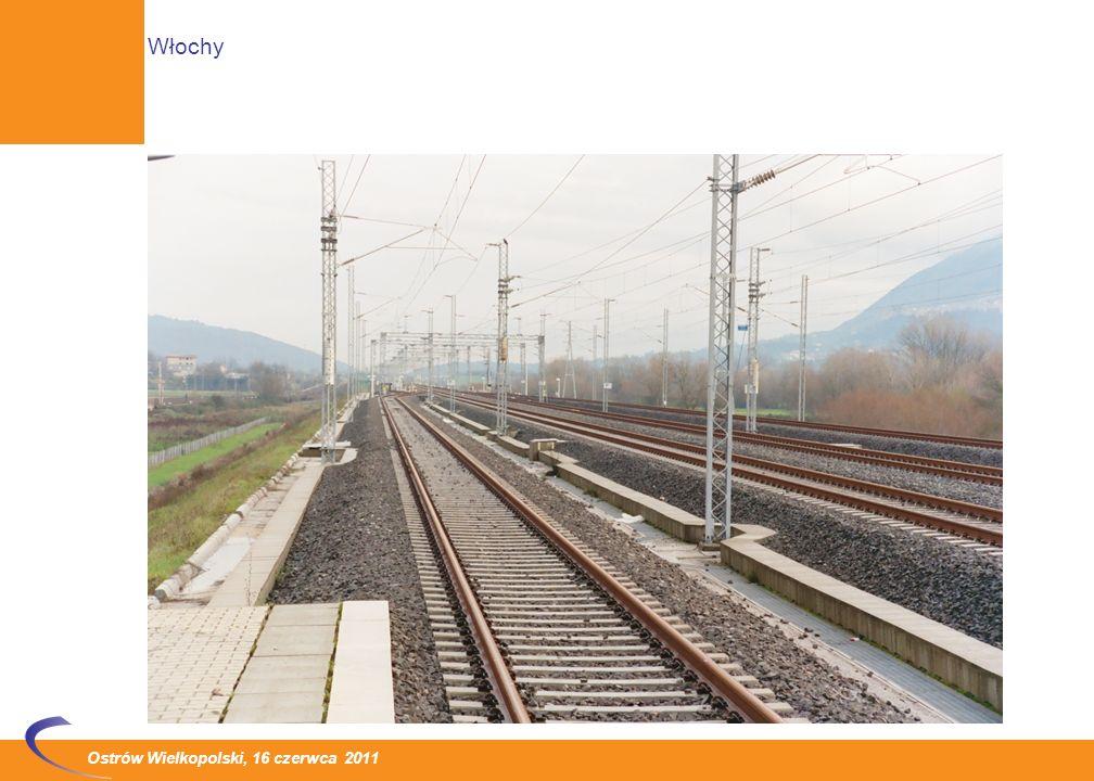 Ostrów Wielkopolski, 16 czerwca 2011 Budowa sieci linii dużej prędkości i dużej przepustowości - AV /AC (Alta Velocita – Alta Capacita) W grudniu 2008 roku i w grudniu 2009 roku, zostały przekazane do eksploatacji ostatnie odcinki na linii Turyn - Mediolan - Bolonia - Florencja - Rzym - Neapol – Salerno: Mediolan – Bolonia (12.2008) Novara – Mediolan, Bolonia – Florencja, Neapol – Salerno (12.2009) Łączna długość odcinków oddanych do eksploatacji w 2008-2009: 361 km Efekt - najkrótsze czasy podróży w 2010 roku: z Mediolanu do Rzymu - 2 godziny 59 minut, z Rzymu do Neapolu – nieco ponad godzinę Włochy