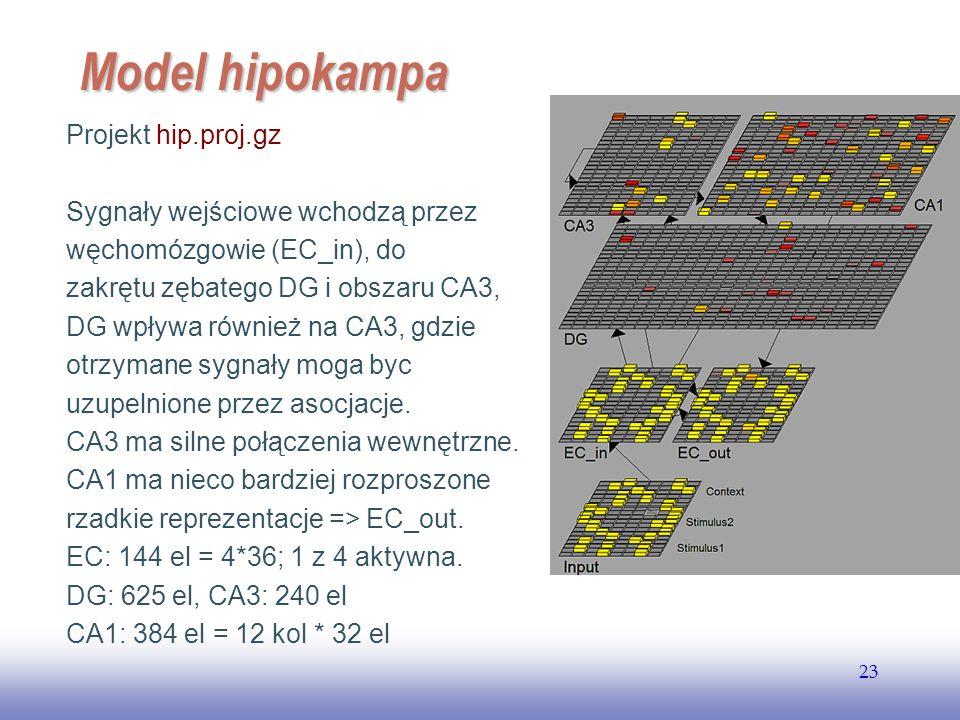 EE141 23 Model hipokampa Projekt hip.proj.gz Sygnały wejściowe wchodzą przez węchomózgowie (EC_in), do zakrętu zębatego DG i obszaru CA3, DG wpływa ró
