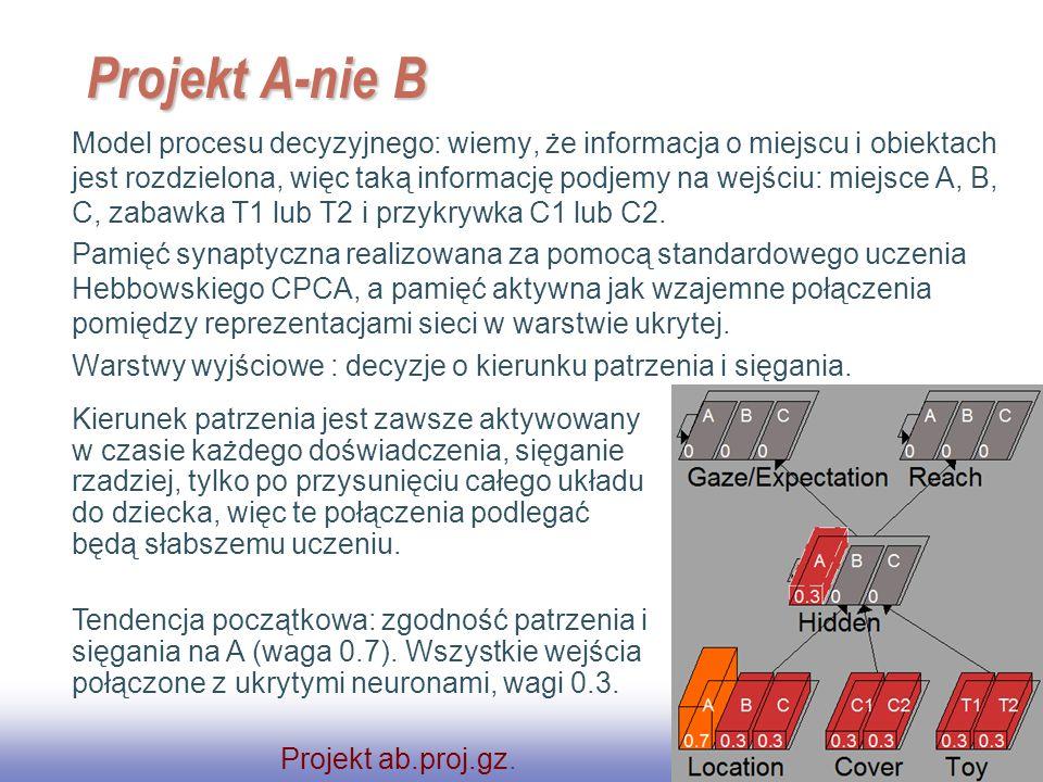 EE141 37 Projekt A-nie B Model procesu decyzyjnego: wiemy, że informacja o miejscu i obiektach jest rozdzielona, więc taką informację podjemy na wejśc
