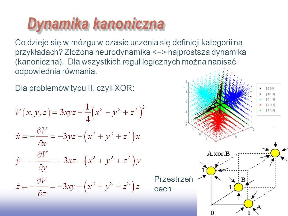 EE141 42 Dynamika kanoniczna Co dzieje się w mózgu w czasie uczenia się definicji kategorii na przykładach? Złożona neurodynamika najprostsza dynamika