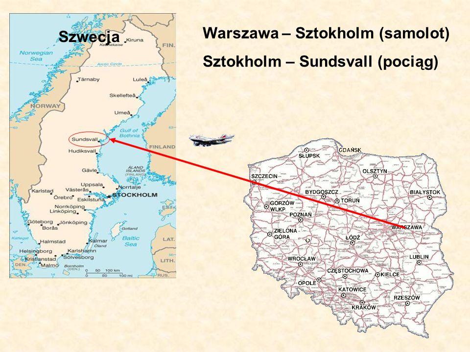 Miejsce docelowe Sundsvall - miasto portowe w północno-środkowej Szwecji nad Zatoką Botnicką - liczba mieszkańców - 94 tys.
