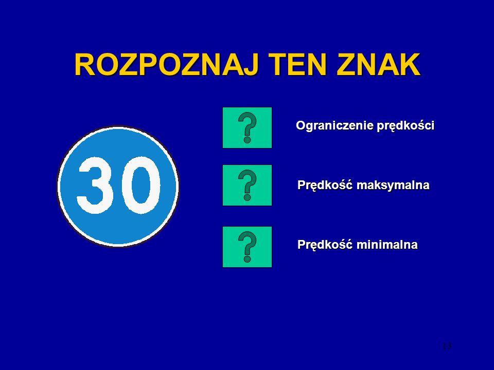12 ROZPOZNAJ TEN ZNAK Zakaz ruchu Zakaz ruchu Stop Nakaz zatrzymania się Nakaz zatrzymania się