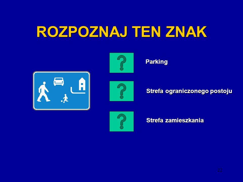 21 ROZPOZNAJ TEN ZNAK Ruch okrężny Ruch okrężny Zakaz wjazdu pojazdów silnikowych z wyjątkiem motocykli jednośladowych Zakaz wjazdu pojazdów silnikowy