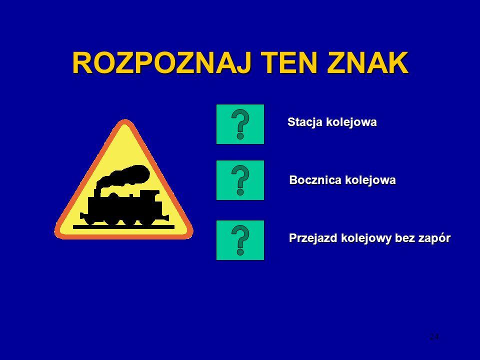 23 ROZPOZNAJ TEN ZNAK Zakaz używania sygnałów dźwiękowych na obszarze zabudowanym Zakaz używania sygnałów dźwiękowych na obszarze zabudowanym Zakaz uż