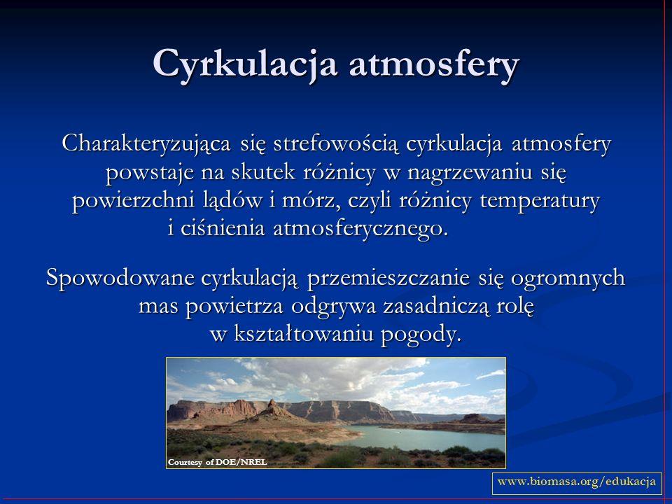 Cyrkulacja atmosfery Charakteryzująca się strefowością cyrkulacja atmosfery powstaje na skutek różnicy w nagrzewaniu się powierzchni lądów i mórz, czy