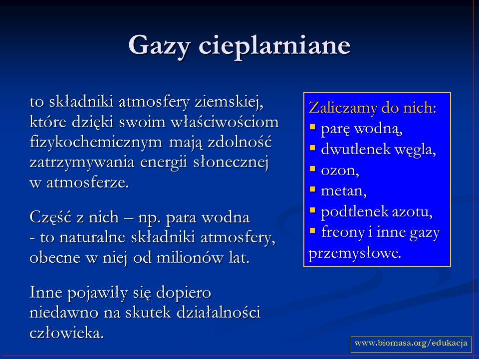 Gazy cieplarniane to składniki atmosfery ziemskiej, które dzięki swoim właściwościom fizykochemicznym mają zdolność zatrzymywania energii słonecznej w