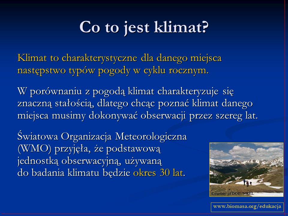 Co to jest klimat? Klimat to charakterystyczne dla danego miejsca następstwo typów pogody w cyklu rocznym. W porównaniu z pogodą klimat charakteryzuje