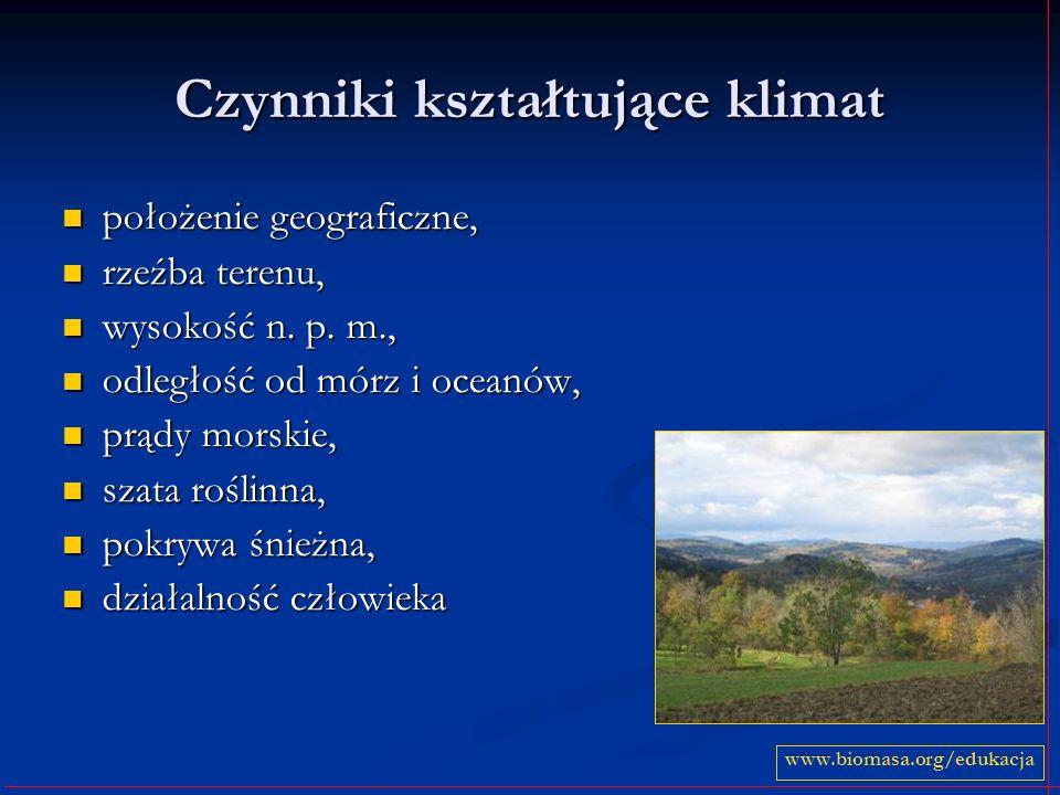 Czynniki kształtujące klimat położenie geograficzne, położenie geograficzne, rzeźba terenu, rzeźba terenu, wysokość n. p. m., wysokość n. p. m., odleg