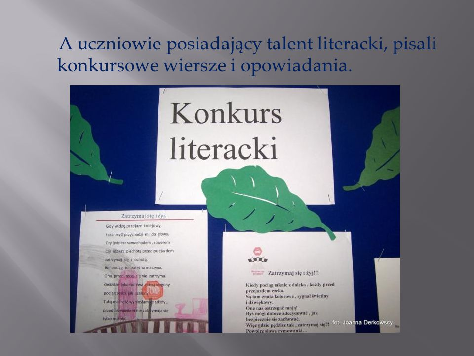 A uczniowie posiadający talent literacki, pisali konkursowe wiersze i opowiadania.