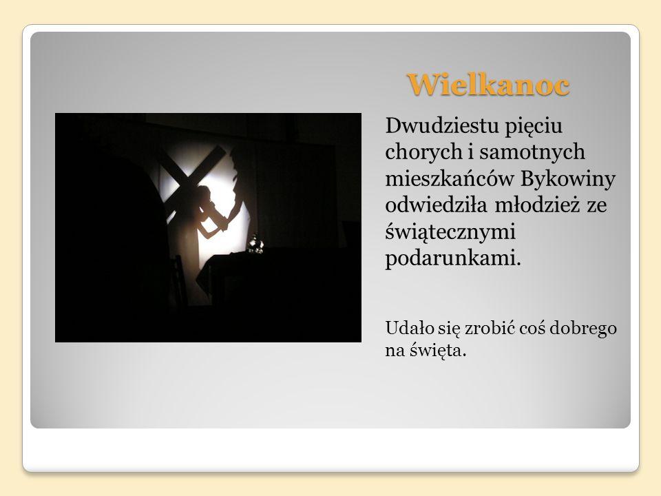 Wielkanoc Dwudziestu pięciu chorych i samotnych mieszkańców Bykowiny odwiedziła młodzież ze świątecznymi podarunkami.