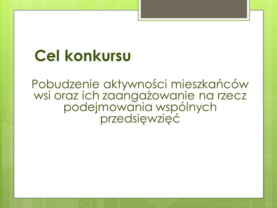 Cel konkursu Pobudzenie aktywności mieszkańców wsi oraz ich zaangażowanie na rzecz podejmowania wspólnych przedsięwzięć