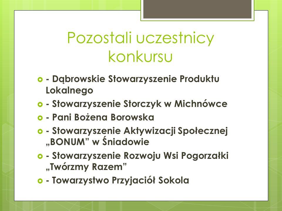 Pozostali uczestnicy konkursu - Dąbrowskie Stowarzyszenie Produktu Lokalnego - Stowarzyszenie Storczyk w Michnówce - Pani Bożena Borowska - Stowarzysz