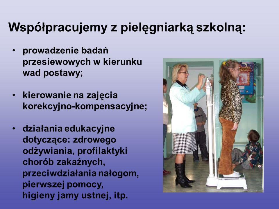 Współpracujemy z pielęgniarką szkolną: prowadzenie badań przesiewowych w kierunku wad postawy; kierowanie na zajęcia korekcyjno-kompensacyjne; działan