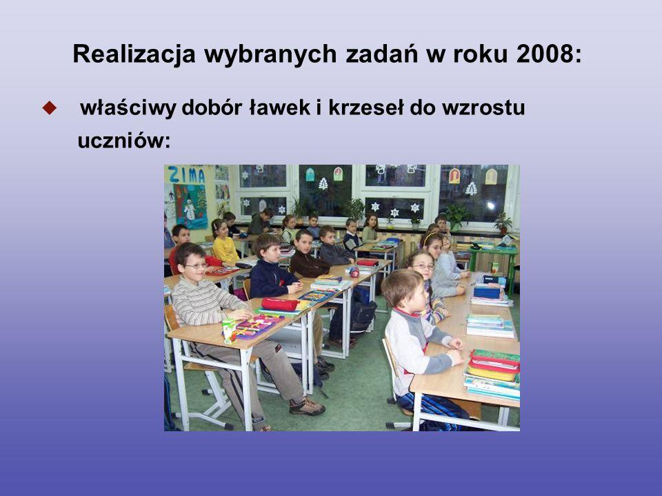 Realizacja wybranych zadań w roku 2008: właściwy dobór ławek i krzeseł do wzrostu uczniów: