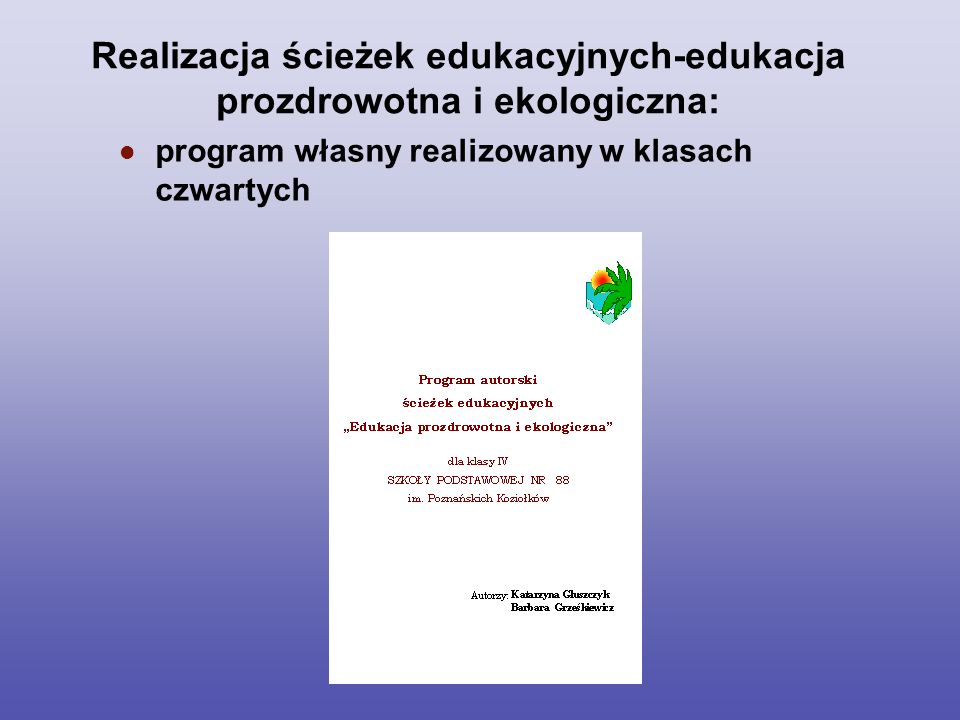 Ewaluacja została przeprowadzona przez wybranych członków szkolnego zespołu promocji zdrowia, wśród uczniów, rodziców i pracowników szkoły.