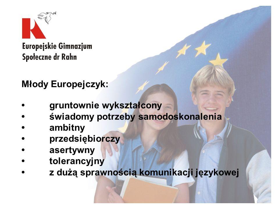 Młody Europejczyk: gruntownie wykształcony świadomy potrzeby samodoskonalenia ambitny przedsiębiorczy asertywny tolerancyjny z dużą sprawnością komuni