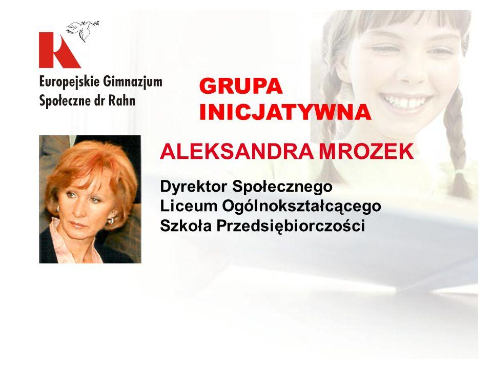 ALEKSANDRA MROZEK Dyrektor Społecznego Liceum Ogólnokształcącego Szkoła Przedsiębiorczości GRUPA INICJATYWNA