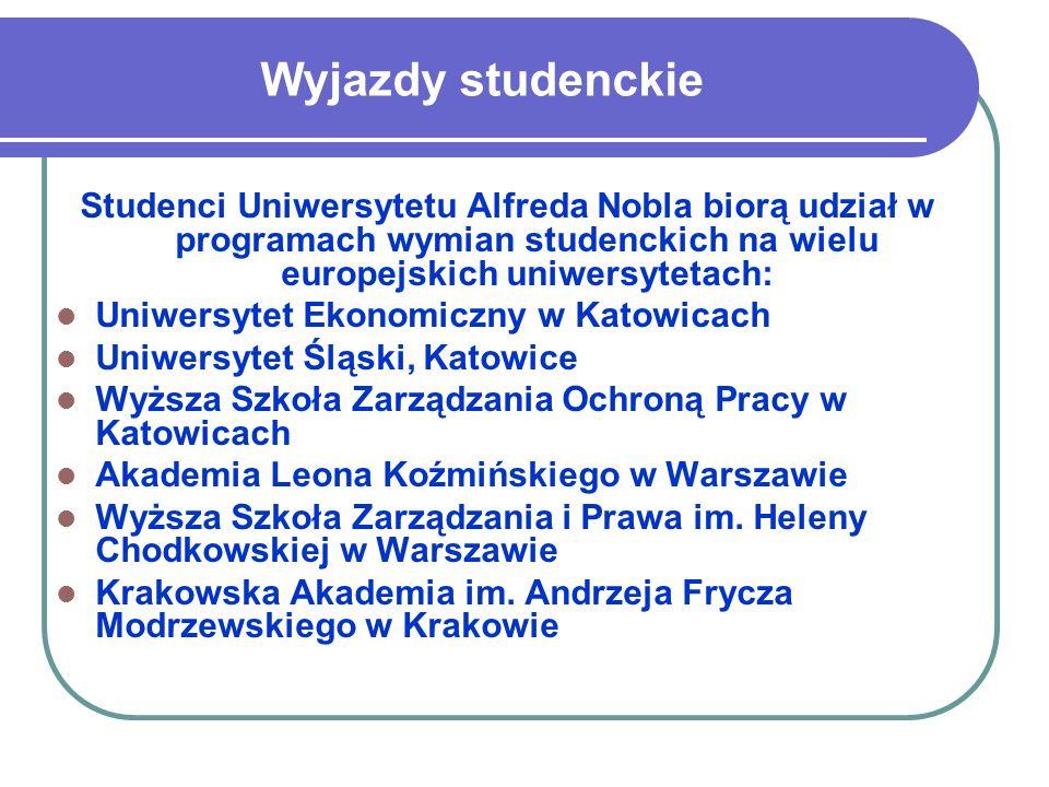 Wyjazdy studenckie Studenci Uniwersytetu Alfreda Nobla biorą udział w programach wymian studenckich na wielu europejskich uniwersytetach: Uniwersytet