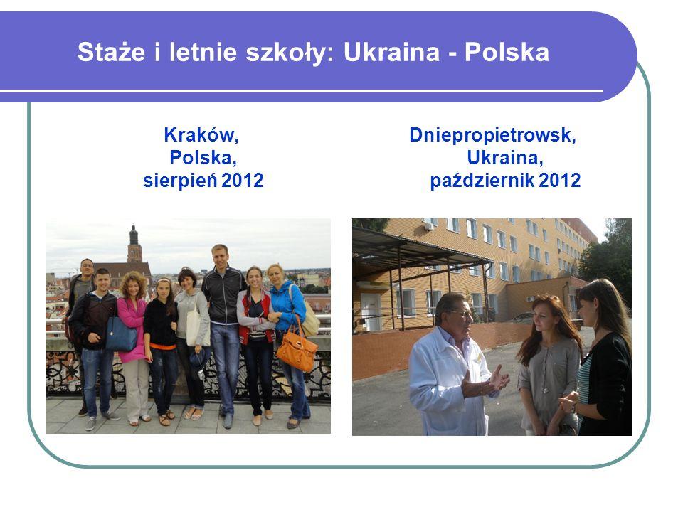 Staże i letnie szkoły: Ukraina - Polska Kraków, Polska, sierpień 2012 Dniepropietrowsk, Ukraina, październik 2012