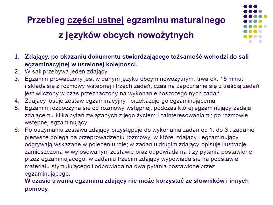 Przebieg części ustnej egzaminu maturalnego z języków obcych nowożytnych 1.Z dający, po okazaniu dokumentu stwierdzającego tożsamość wchodzi do sali e