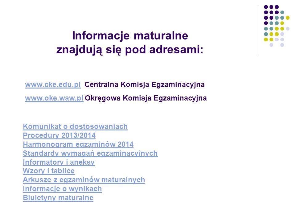 Informacje maturalne znajdują się pod adresami: Komunikat o dostosowaniach Procedury 2013/2014 Harmonogram egzaminów 2014 Standardy wymagań egzaminacy