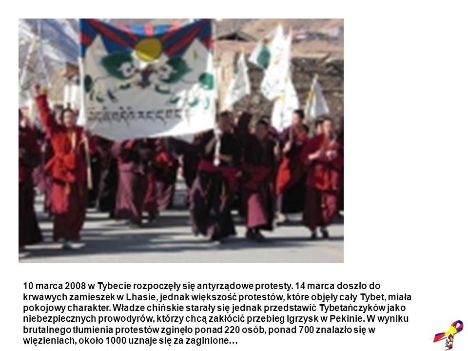10 marca 2008 w Tybecie rozpoczęły się antyrządowe protesty. 14 marca doszło do krwawych zamieszek w Lhasie, jednak większość protestów, które objęły