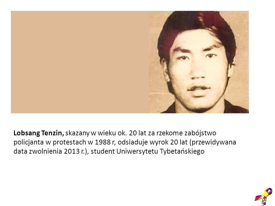 Lobsang Tenzin, skazany w wieku ok. 20 lat za rzekome zabójstwo policjanta w protestach w 1988 r, odsiaduje wyrok 20 lat (przewidywana data zwolnienia