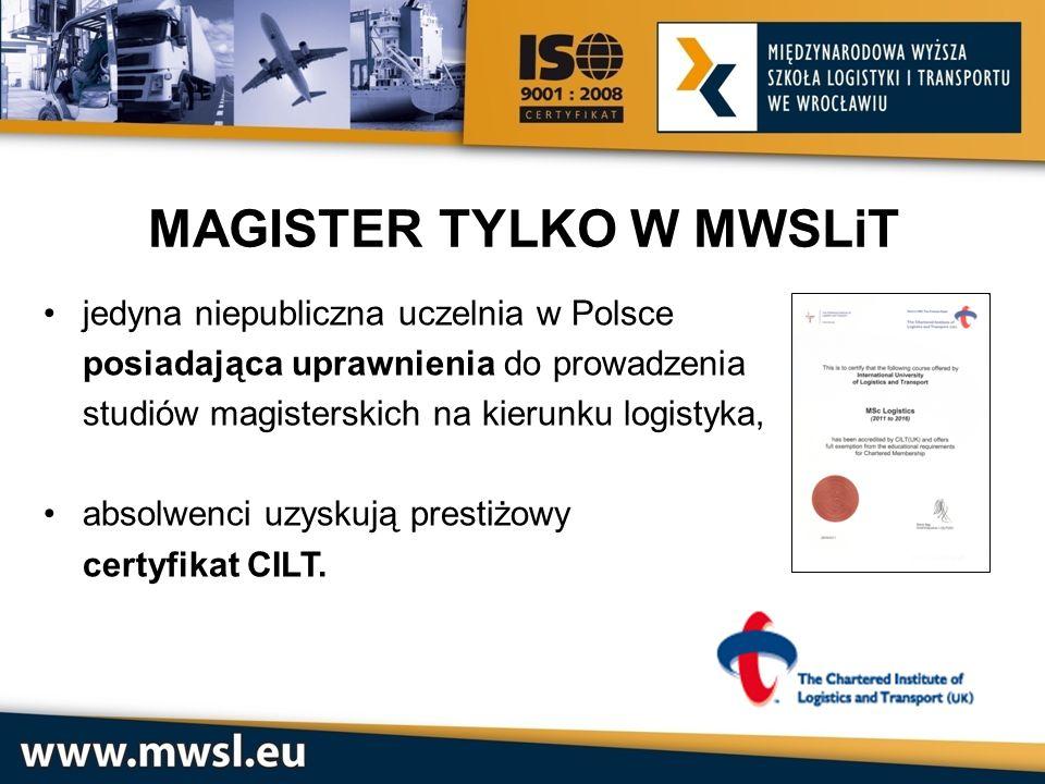 MAGISTER TYLKO W MWSLiT jedyna niepubliczna uczelnia w Polsce posiadająca uprawnienia do prowadzenia studiów magisterskich na kierunku logistyka, abso