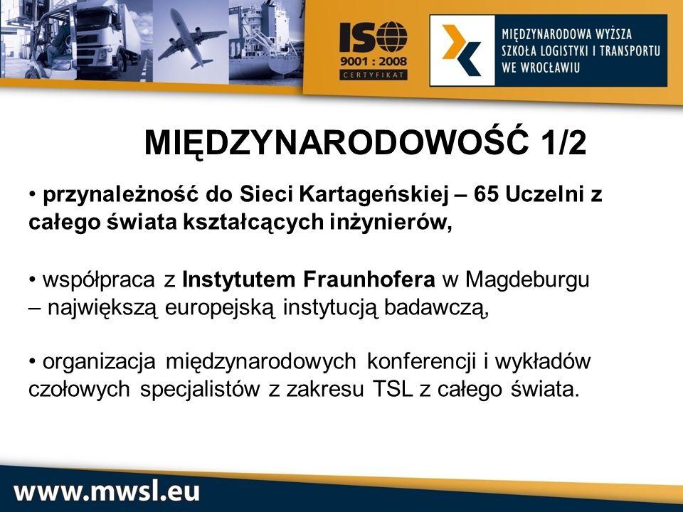 MIĘDZYNARODOWOŚĆ 1/2 przynależność do Sieci Kartageńskiej – 65 Uczelni z całego świata kształcących inżynierów, współpraca z Instytutem Fraunhofera w