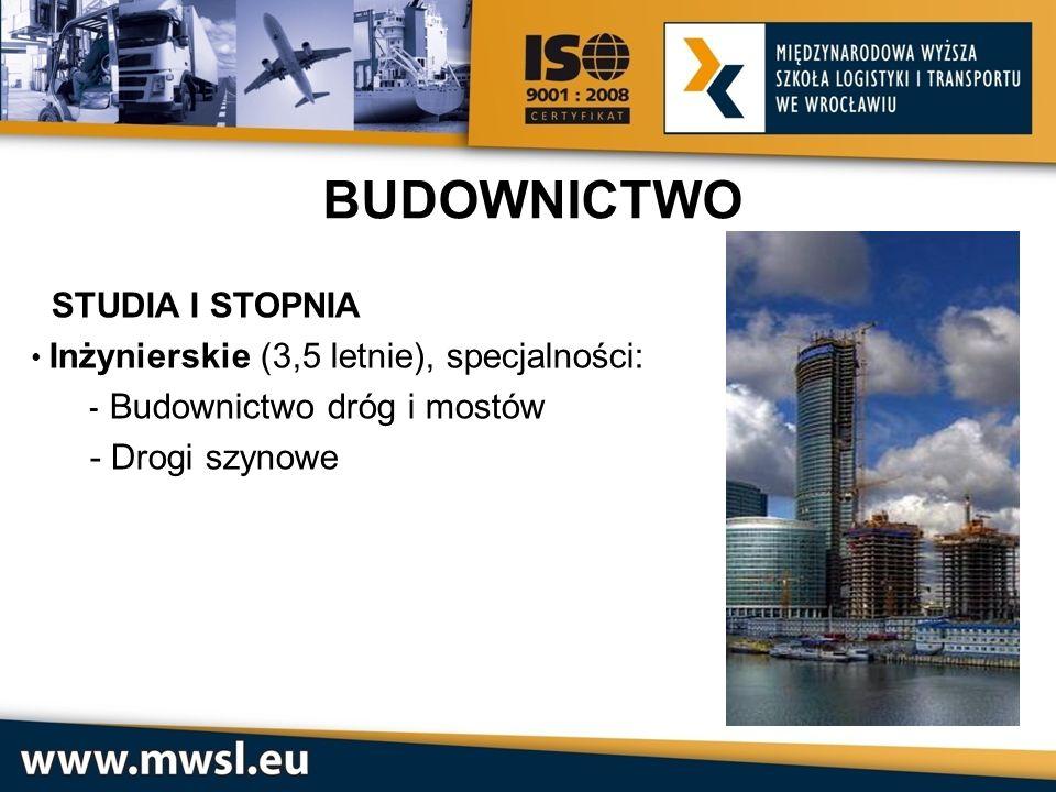 STUDIA I STOPNIA Inżynierskie (3,5 letnie), specjalności: - Budownictwo dróg i mostów - Drogi szynowe BUDOWNICTWO