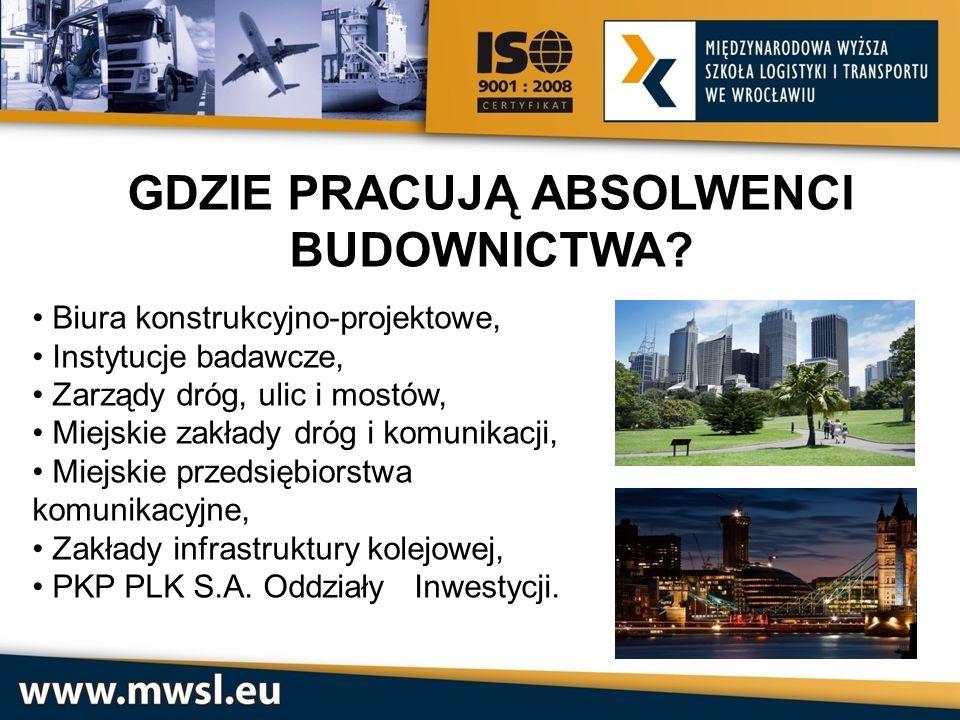 GDZIE PRACUJĄ ABSOLWENCI BUDOWNICTWA? Biura konstrukcyjno-projektowe, Instytucje badawcze, Zarządy dróg, ulic i mostów, Miejskie zakłady dróg i komuni