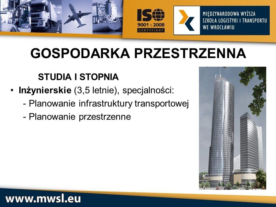 STUDIA I STOPNIA Inżynierskie (3,5 letnie), specjalności: - Planowanie infrastruktury transportowej - Planowanie przestrzenne GOSPODARKA PRZESTRZENNA