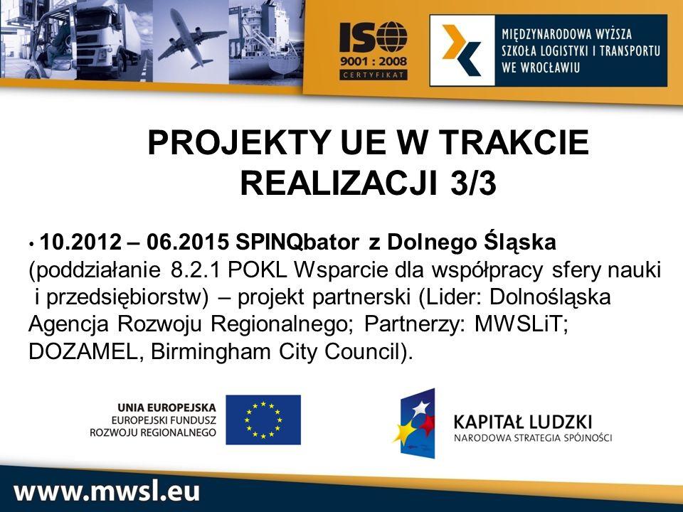 PROJEKTY UE W TRAKCIE REALIZACJI 3/3 10.2012 – 06.2015 SPINQbator z Dolnego Śląska (poddziałanie 8.2.1 POKL Wsparcie dla współpracy sfery nauki i prze