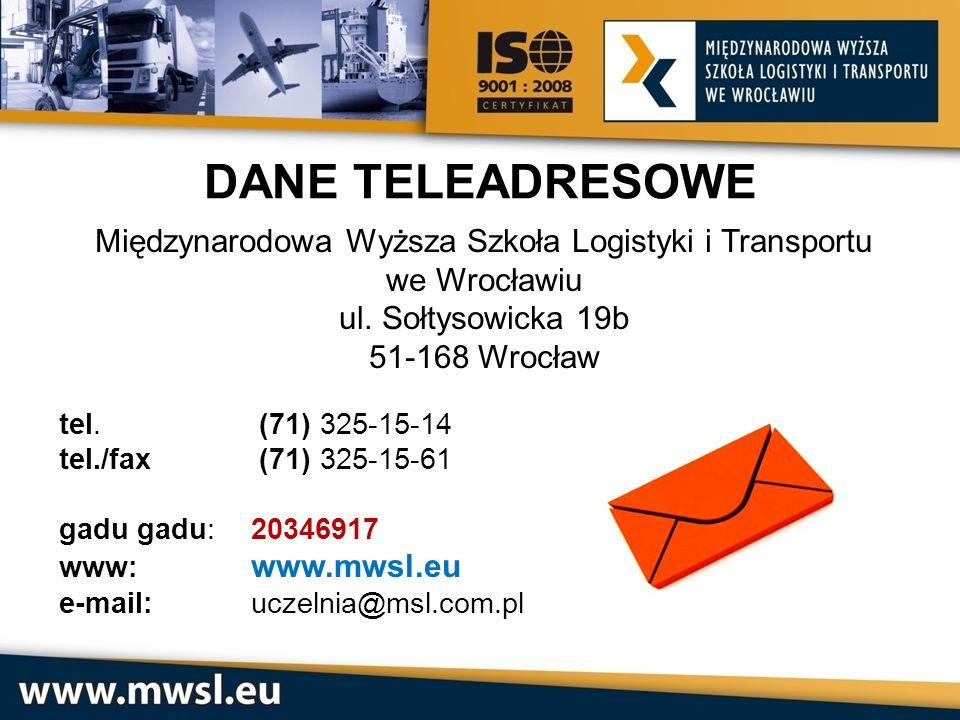 Międzynarodowa Wyższa Szkoła Logistyki i Transportu we Wrocławiu ul. Sołtysowicka 19b 51-168 Wrocław tel. (71) 325-15-14 tel./fax (71) 325-15-61 gadu