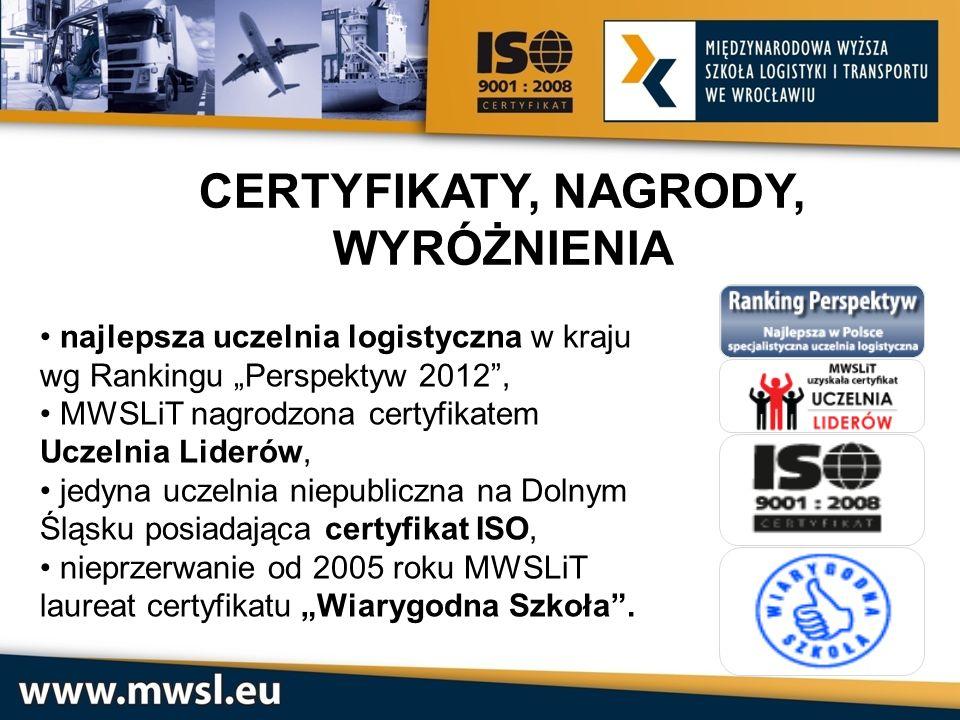 najlepsza uczelnia logistyczna w kraju wg Rankingu Perspektyw 2012, MWSLiT nagrodzona certyfikatem Uczelnia Liderów, jedyna uczelnia niepubliczna na D