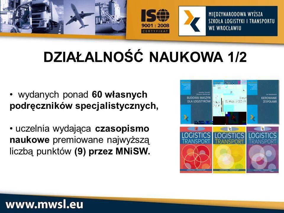 DZIAŁALNOŚĆ NAUKOWA 2/2 Uczelnia prowadząca wiele badań naukowych i projektów europejskich, prężnie działające koło naukowe logistyków, Organizator wielu międzynarodowych konferencji naukowych z dziedziny TLS – transportu, logistyki i spedycji.